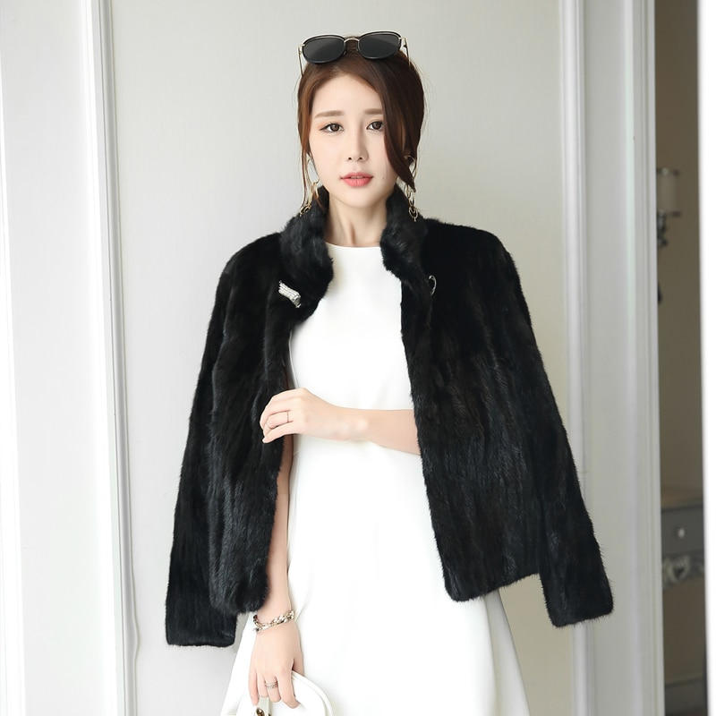 Plus Size Jacket 4xl Real Mink Autumn Winter Coat Women Clothes Korean Vintage Fur Overcoat Chaqueta Mujer MY1050