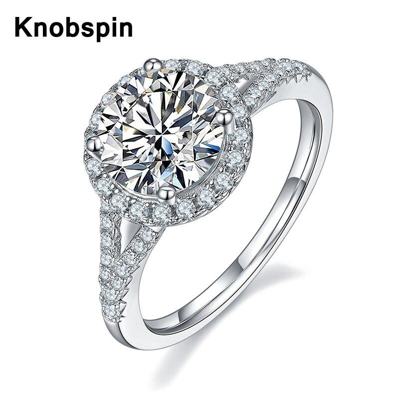 Knobspin 925 فضة خاتم مويسانيتي خاتم D 1.5ct النمط الكلاسيكي الماس مجوهرات الزفاف حفلة خاتم للذكرى للنساء