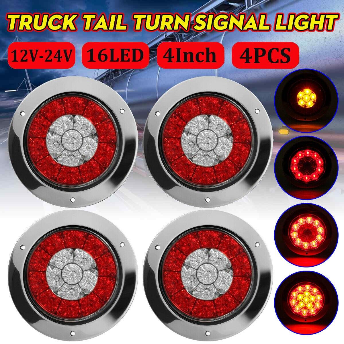 """Luces traseras 12V-24V de alta calidad de 4 """"redondas Rojas/ámbar 16 LED para freno de remolque de camión"""