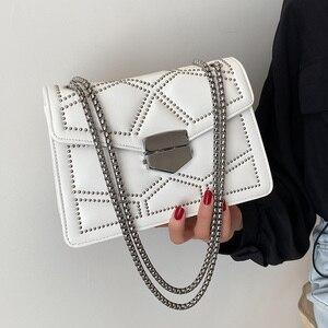 Rivet Shoulder Bag Metal Chain Crossbody Bag 2021 Women Bags Brand Leather Luxury Handbags For Women Classic Squar Flap Satchel