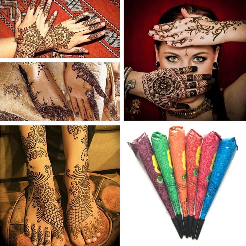 1 pc corpo pintura natural herbal henna cones temporária à prova dwaterproof água tatuagem kit preto pintura da arte do corpo mehandi tinta tslm1