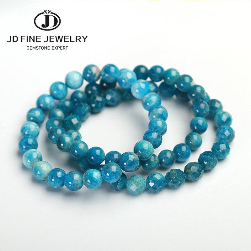 JD Natural Genuine Blue Apatite Phosphorite Round Loose 8mm Smooth Beads Bracelet For Women Men Energy Jewelry