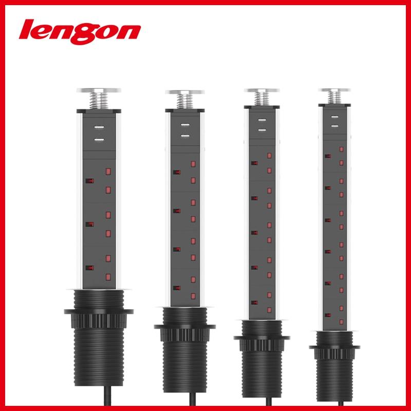 لينغون 13A سحب المنبثقة 3 مقابس انجليزية السلطة 2 USB شحن ميناء المطبخ الجدول سطح المكتب مآخذ