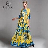 seqinyy long dress 2020 spring autumn new fashion design women half flare sleeve flowers printed vintage elegant yellow dress