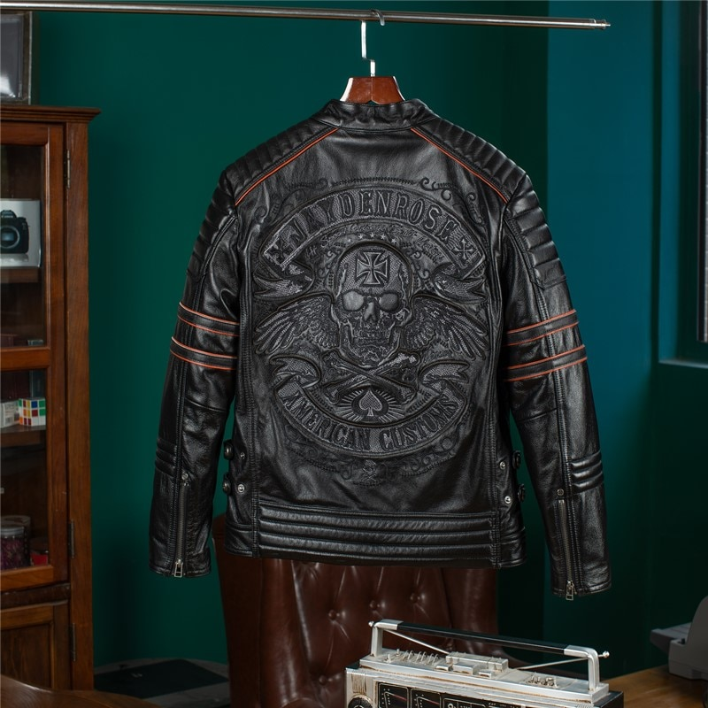 YR!Free shipping.Wholesales.black short rider genuine leather jacket.Cool motor biker skulls cow leather coat.quality clothes