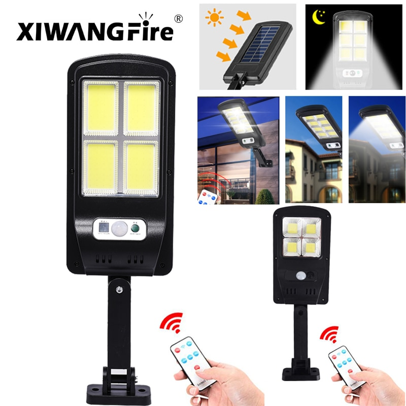 New Solar Small Wall Light 4 Cob LED Outdoor Waterproof Human Body Induction Garden Street Light Landscape Lights Torch Hanging