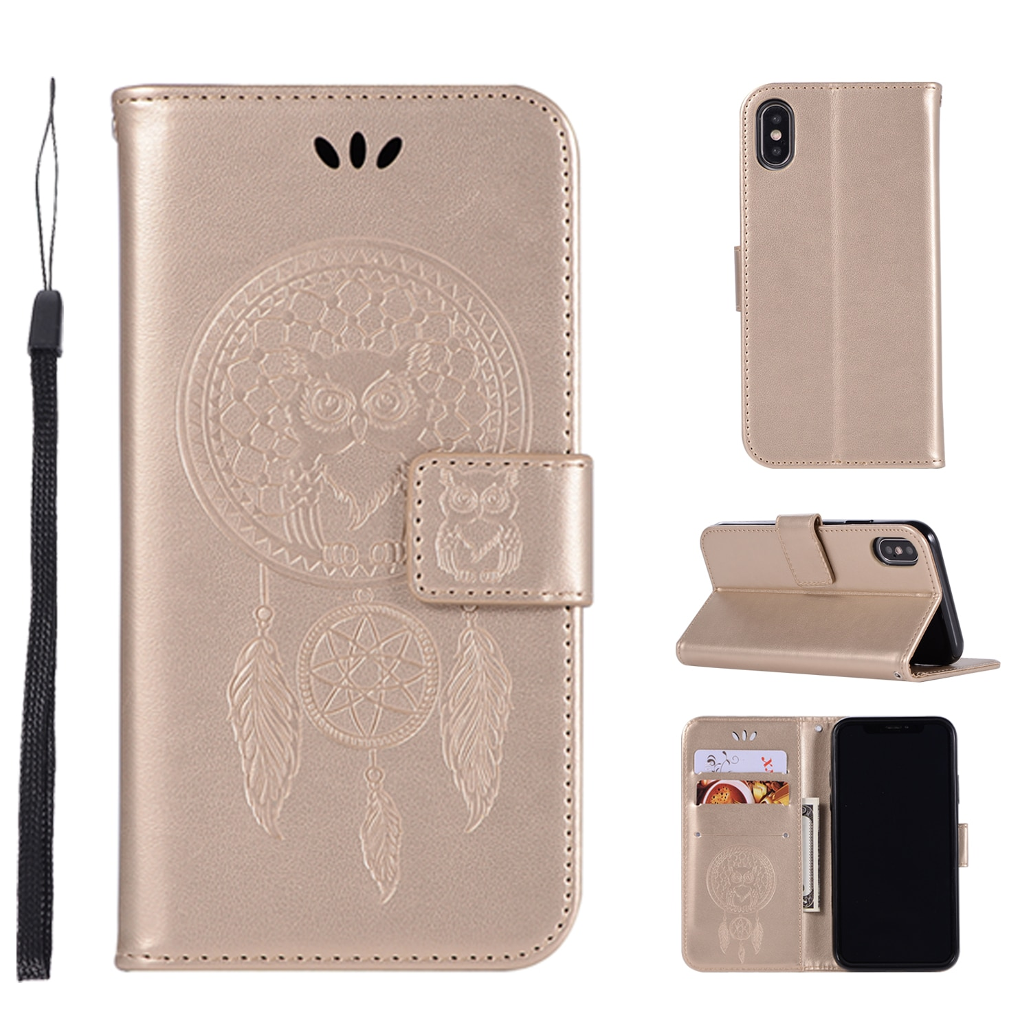 Embossed Leather Phone Case for Sony L3 Xperia 1 10 Plus XZ3 XA Wallet Shell Bracket Coque Flip Multifunction Protective Cover