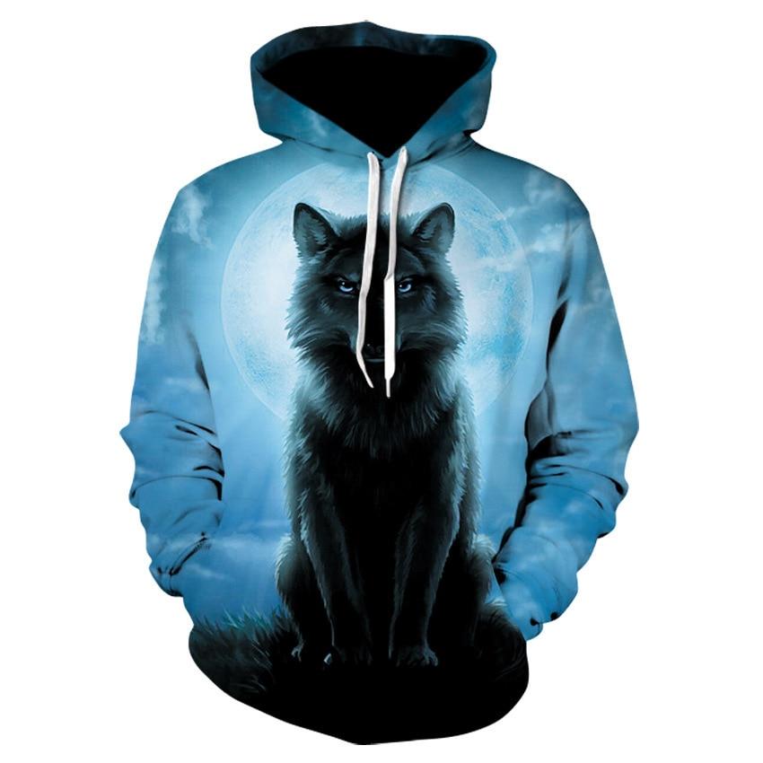 2020 New Starry Wolf Print Hoodie Men's 3d Sweatshirt Harajuku Hoodie Pullover Sportswear Streetwear Fashion Pullover Sweatshirt 3d galaxy tree print pullover hoodie