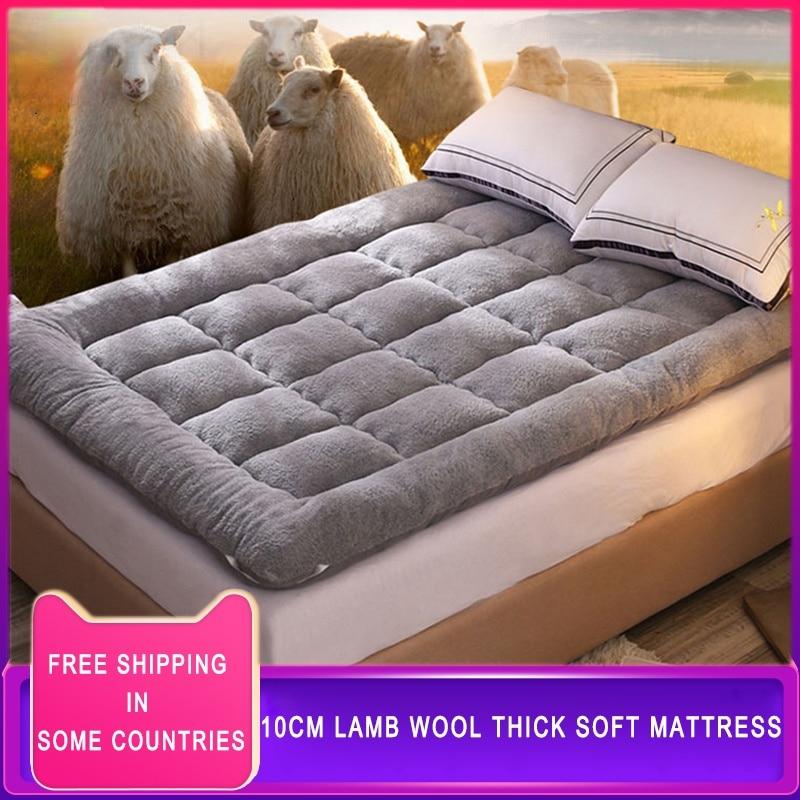 Фото - Матрас для спальни, матрас из овечьей шерсти, зимний теплый плотный матрас, домашнее постельное белье, дышащий нескользящий мягкий спальный... матрас
