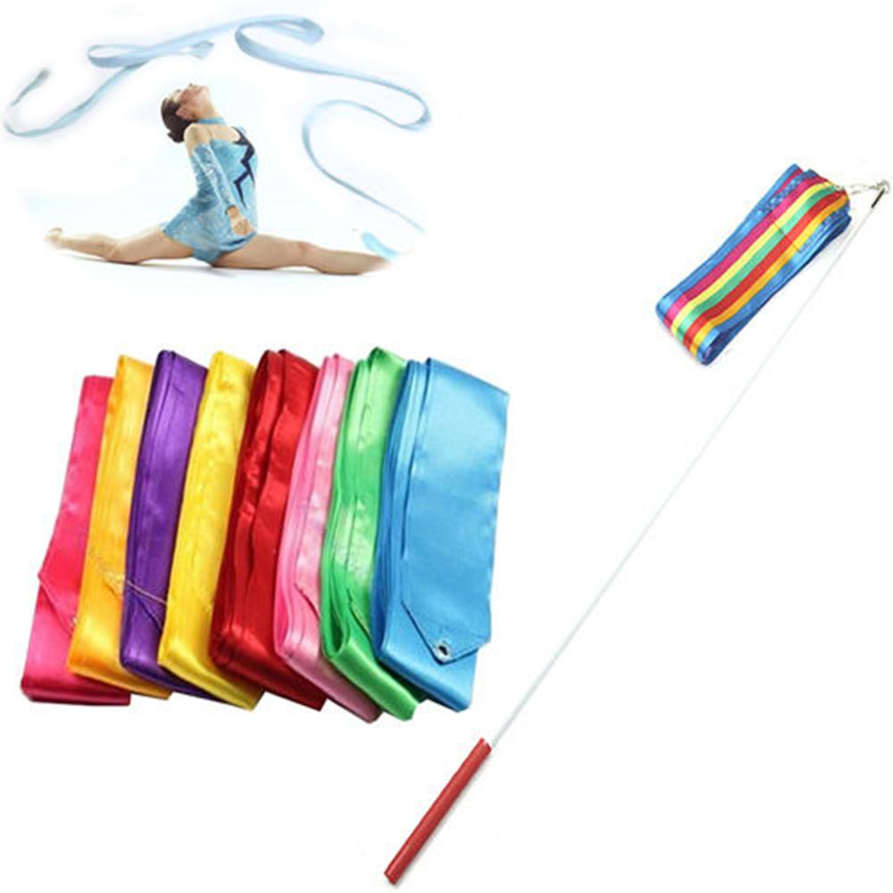 6 m colorido ginásio fitas dança fita rítmica arte ginástica ballet streamer giratório haste arco-íris vara training1 ribbon1 vara