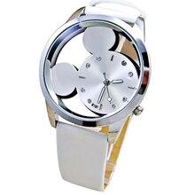 Relogio Fashion Mickey Women Watch Luxury Transparent Hollow Quartz Watches Leather Strap Cartoon Wa
