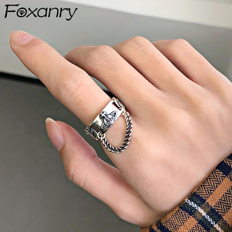 foxanry-925-стерлингового-серебра-модное-кольца-Новая-Мода-Творческая-цепочка-с-кисточками-планету-в-винтажном-стиле-сапоги-в-панковском-стиле