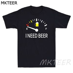 Funny Drinking I Need A Beer Meter Men's Short Sleeve T Shirt Retro Cotton Tee Vintage New Design Tshirt Men High Quality Top