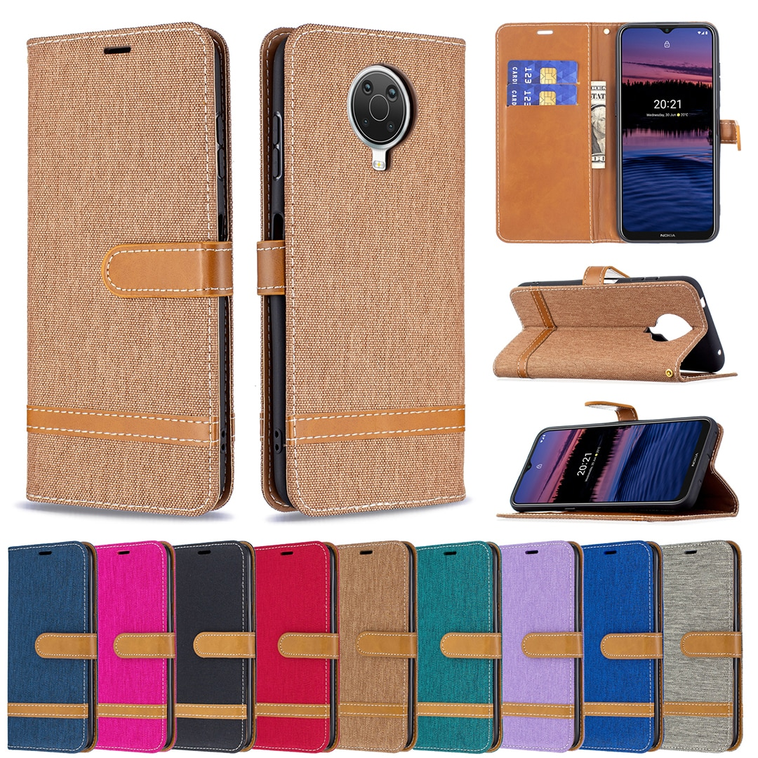 Shockproof Wallet Case for Nokia 1.4 G20 Fundas Denim Mixed Color Card Holder Flip Leather Lanyard Full Protection Phone Cover