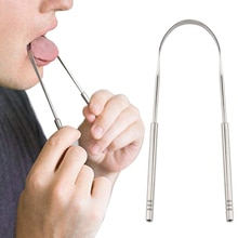 1PC Stainless Steel Tongue Scraper Mouth Brush Eliminate Bad Breath Toothbrush Oral Care Hygiene Hea