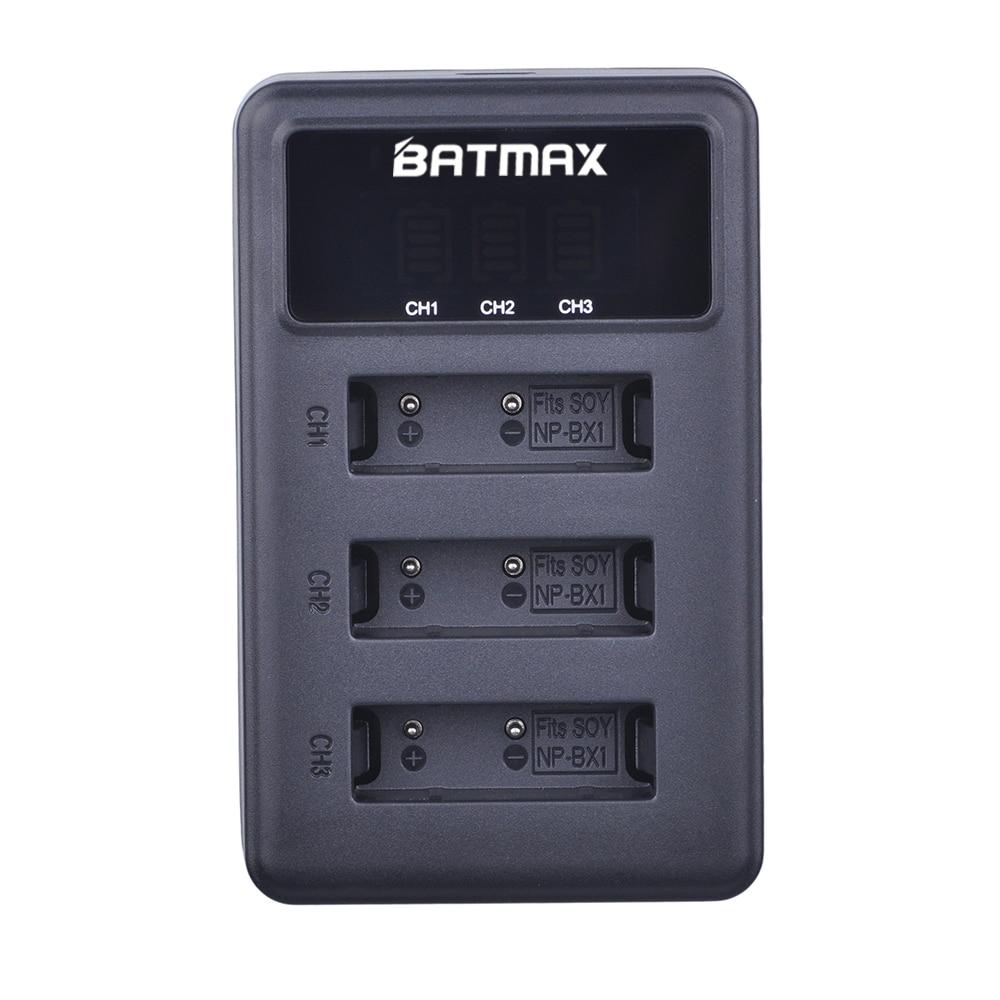 Batmax 1pc NP-BX1 BX1 NPBX1 NP np bx1 LED 3 Slots USB Carregador de Bateria para Sony DSC RX1 RX100 AS100V M3 M2 HX300