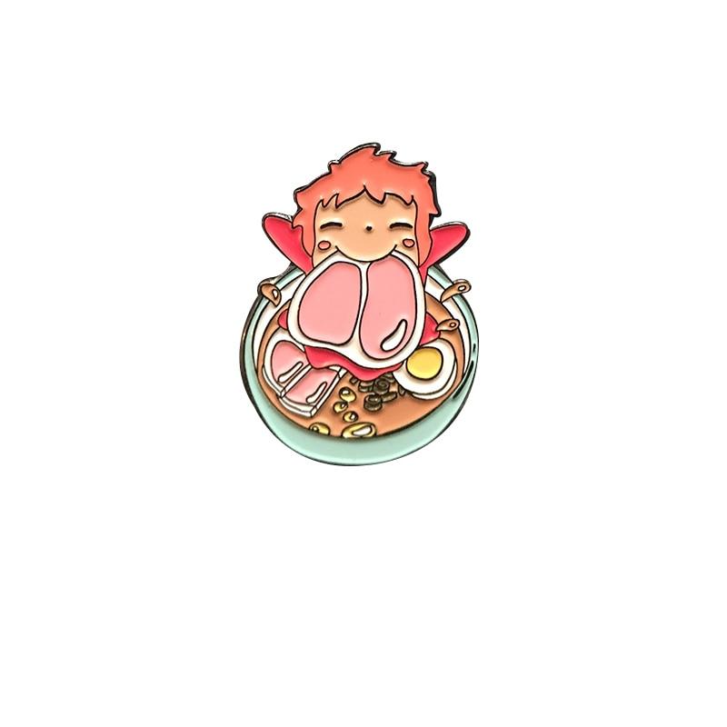 Ponyo – broche bol Ramen, bijoux mignons Anime avec des plaisirs simples