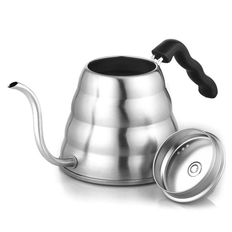 Stainless Steel  Coffee Drip Gooseneck Kettle Pot Teapot Kettle Tea Maker Coffee Grinder Bottle Kitchen 1L/1.2L#25