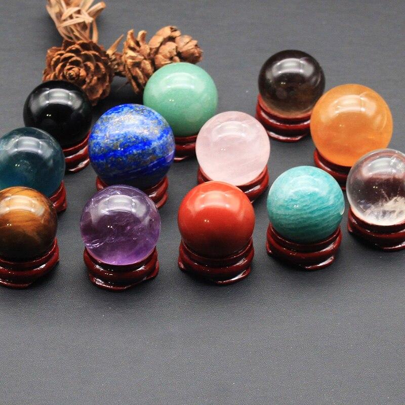 12 Uds. Bola de cristal Natural lapislázuli cuarzo rosa Ojo de Tigre amatista esfera de cristal piedras preciosas curativas y minerales