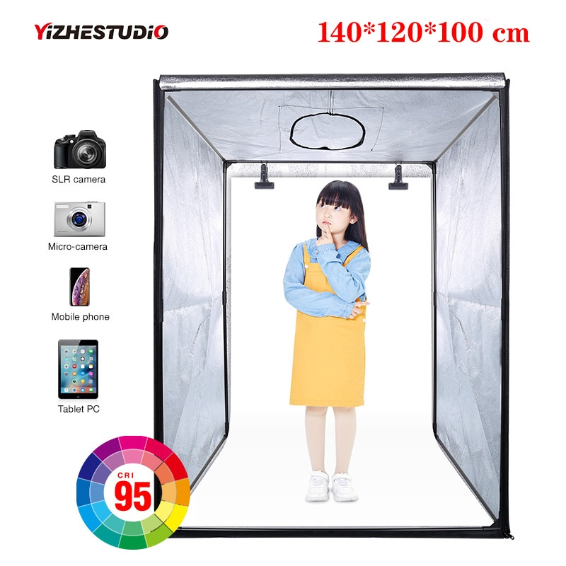140*120*100 سم LED المهنية المحمولة استوديو لينة صندوق LED استوديو الصور الفيديو الإضاءة خيمة ل حقيبة تروللي بعجلات الأطفال الملبس