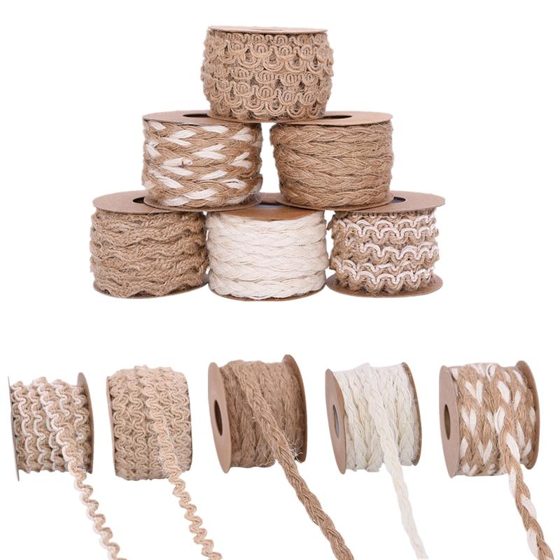 10m 5m mesh hollow natural jute twine rope string cord diy craft burlap scrapbook 5m/roll Natural Vintage Hand Weaving Burlap Jute Cord Hemp Rope Gift Packing String Knitting Twine DIY Home Party Decor Supplies