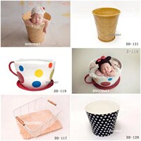 Dvotinst Newborn Photography Props Iron Creative Posing Bucket Coffee Cup Icecream for Baby Photo Shoot Accessories Studio Props