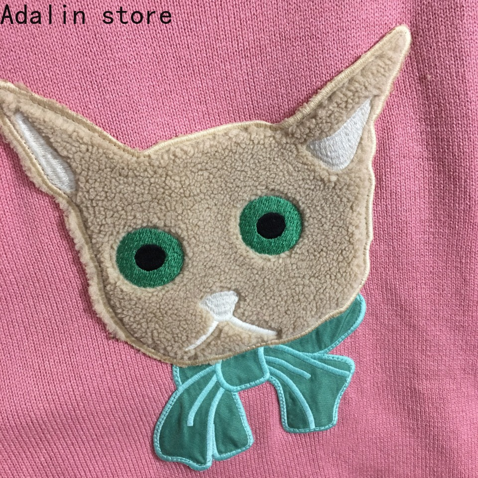 2021 high quality new bow cat embroidery patch cloth round neck long sleeve Pullover fashion temperament knitted sweater enlarge