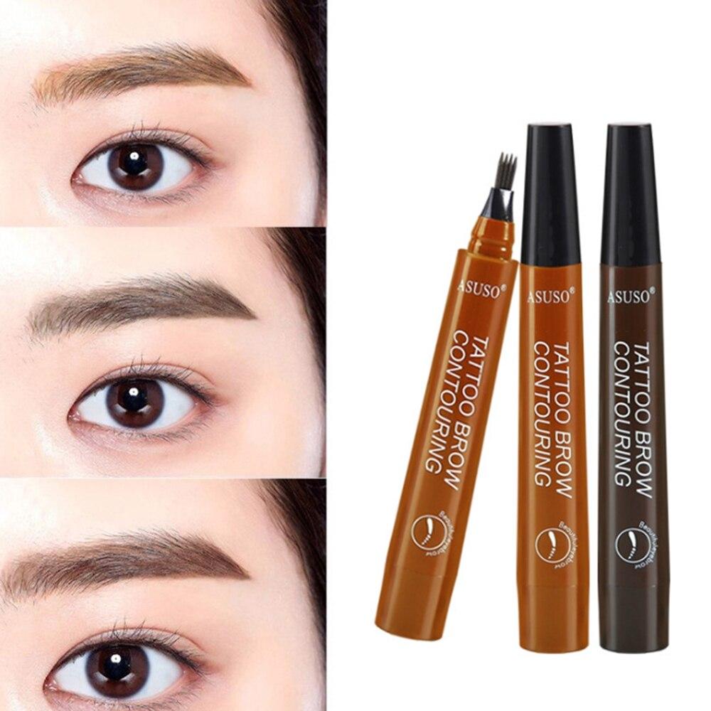 4 kopf Make-Up Augenbrauen Enhancers 5 Farben High-end-Automatische Matte Augenbraue Bleistift farbton Wasserdichte Tattoo Stift Lange- anhaltende
