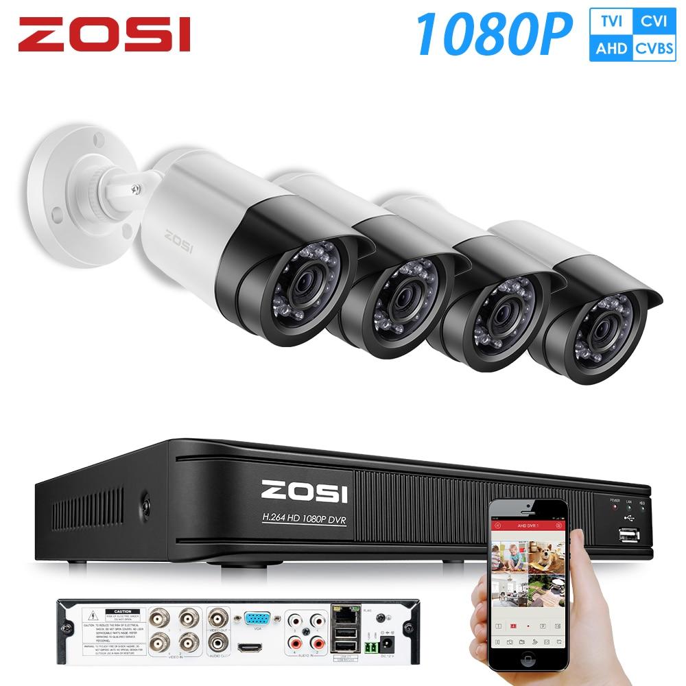 ZOSI AHD CVI TVI CVBS HD 1080P cámara de seguridad exterior sistema 1080P HDMI vídeo CCTV vigilancia 4CH Kit DVR HDD TVI Cámara