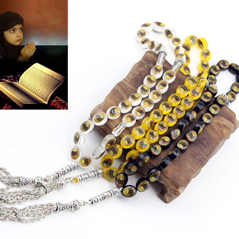 33 cuentas de oración musulmán Islam adoración Rosario Alá Mahoma Tasbih pulsera de cuentas y cadena