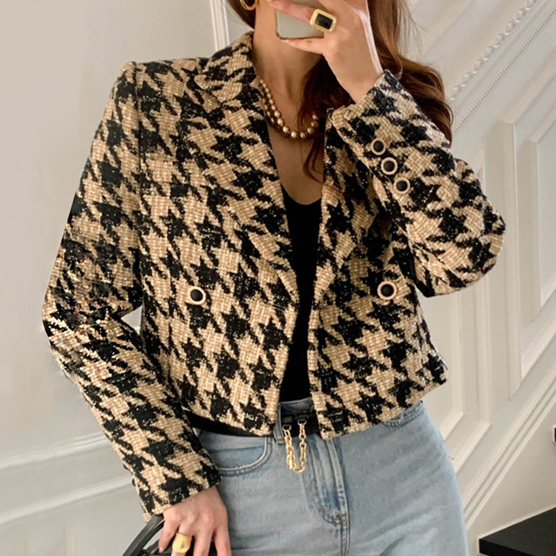 2021 Spring Women's Double Breasted Collar Minimalist Loose Plaid Cotton Heavy Tweed Jacket Cardigan Coat 8D1115