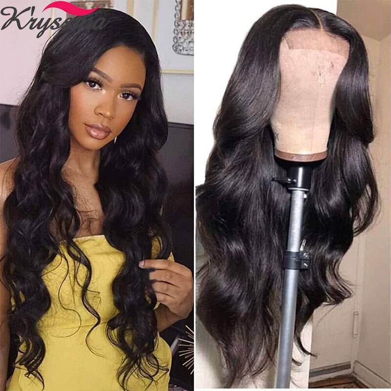 Kryssma Lace Front Wig For Women Black Body Wave Wig Glueless High Temperature Fiber Wig With Natural Hairline Synthetic wigs