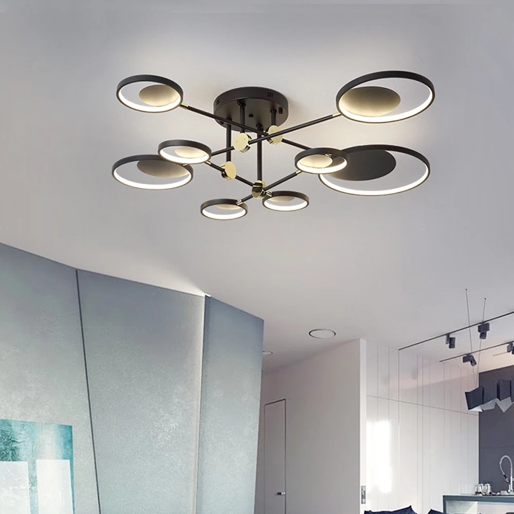 Modern LED Ceiling Light Metal Round Circle Surface Mount Ceiling Lamp Living Room Lighting Fixture Bedroom Kitchen nordic lamp macarons ceiling lamps rose colors metal lamp body acrylic lamp shade colorful post modern ceiling light led lighting fixture
