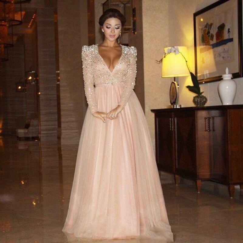 Элегантные вечерние платья с длинным рукавом, сексуальные платья с v-образным вырезом, украшенные кристаллами, вечерние шифоновые платья дл...