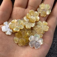 2pcs natural shell beads yellow shells carved flower charms beads for jewelry making earring diy hairpin accessories 15mm 20mm