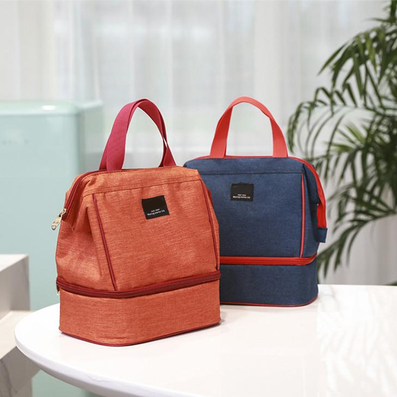 Bolsa de doble capa para colgar, bolsa aislante para almuerzo con cremallera, bolsas térmicas Bento, organizador de almacenamiento de alimentos para viaje, trabajo al aire libre