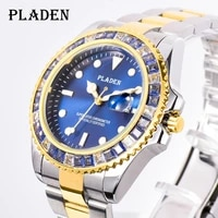 pladen luxury brand men watch fashion blue diamond bezel quartz wristwatch dive sport stainless steel clock silver heren horloge