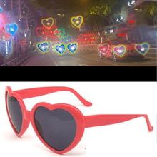 Love Heart Shape Sunglasses Women PC Frame Light Change Love Heart Lens Colorful Sun Glasses Female