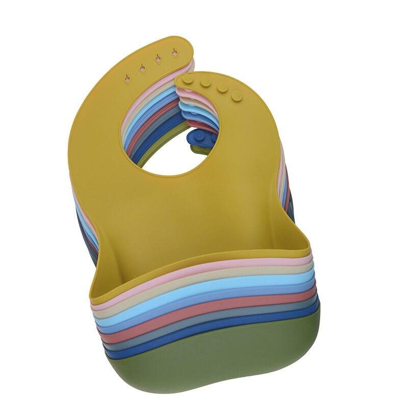 Силиконовый слюнявчик для младенцев, однотонный водонепроницаемый слюнявчик для новорожденных, регулируемый слюнявчик, тканевый слюнявчи...