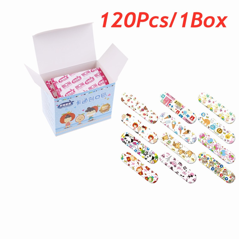 120Pcs Cute Cartoon Waterproof Breathable Band Aid Hemostasis Adhesive Bandages First Aid Emergency Kit For Kids Children