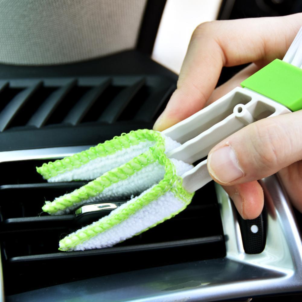 Щетка для чистки автомобиля, двухсторонняя щетка для чистки приборной панели автомобиля, с воздушным выходом, компактный размер, простота и...