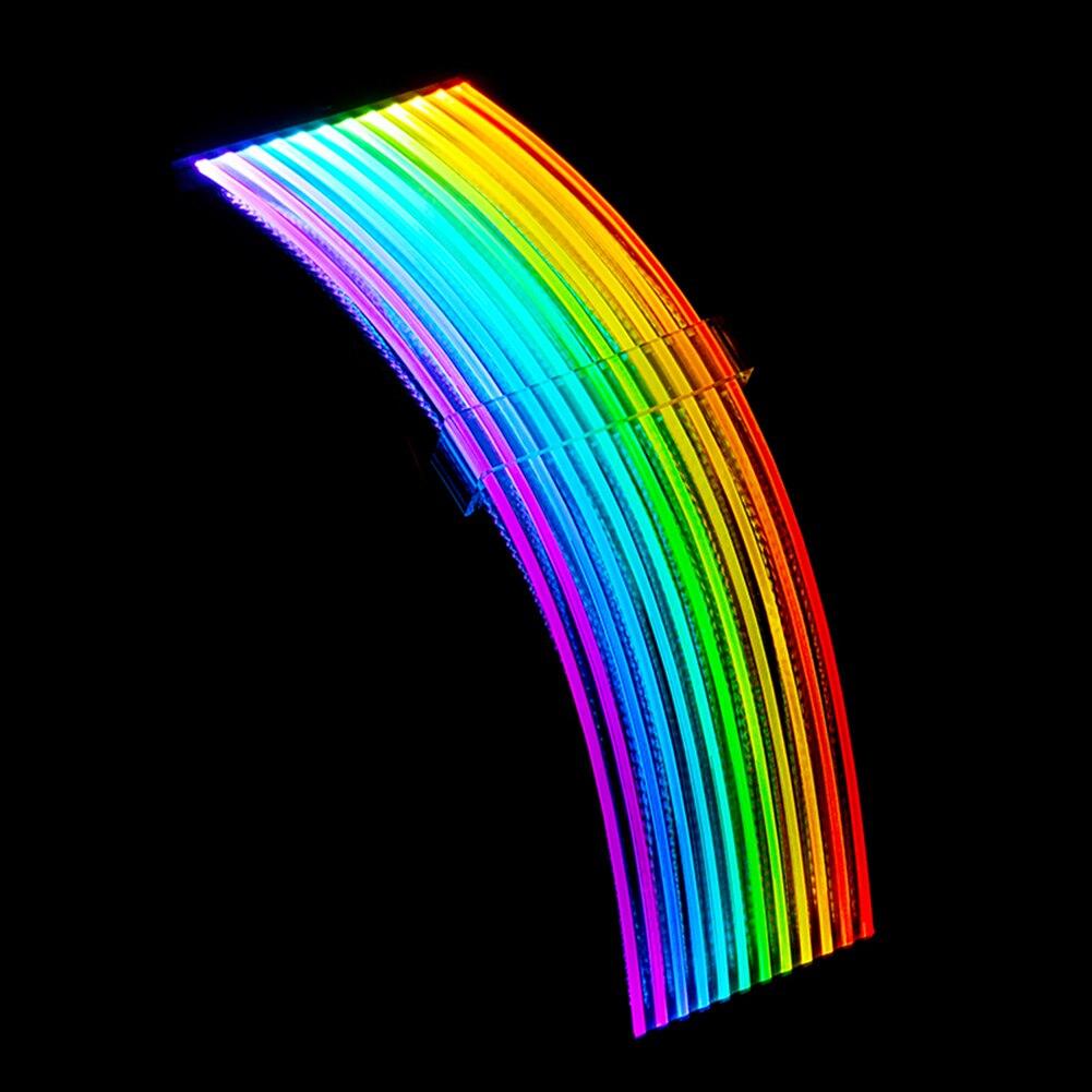 PSU تمديد كابل RGB تمديد اللوحة ATX 24PIN ، وحدة معالجة الرسومات تمديد مزدوج/ثلاثي 8PIN PCI-E 6 + 2Pin قوس قزح الحبل قطعة الديكور