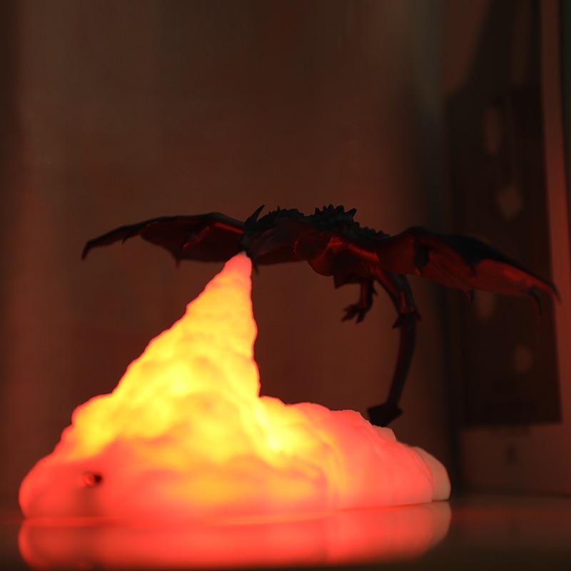 مصباح طاولة LED مطبوع ثلاثي الأبعاد ، موضوع تنين مسامي ، قاذفة فضاء ، صاروخ ، إضاءة زخرفية لغرفة نوم الأطفال ، هدية الكريسماس