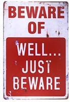 beware of well just vintage metal sign garage signs for men home decor tin art decor poster art plaque vintage home wall decor