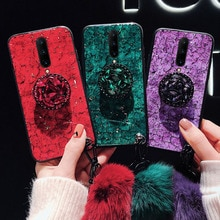 For Oneplus 7 7T 7Pro Phone Cases Diamond Ring Holder Epoxy Foil Marbling Real Fox Fur Wrist Strap C