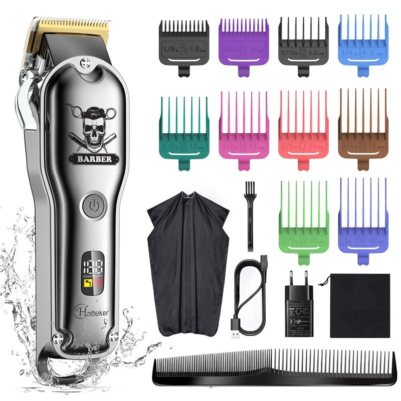 HATTEKER المهنية مشابك شعر مقاوم للماء الحلاق قص الشعر أدوات للعناية الشخصية مع 8 دليل أمشاط مشابك شعر لاسلكي