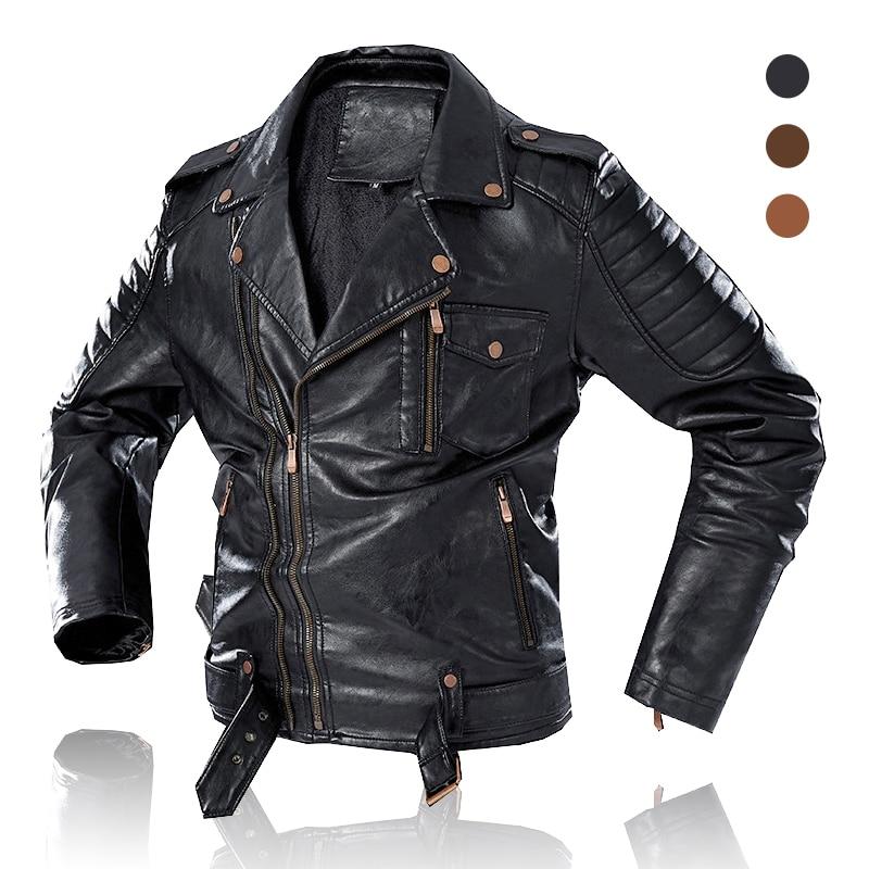 Men Trendy Fashion Motorcycle Jacket 2020 New Men Vintage Biker Leather Jacket Coat Winter Fleece Casual Faux Leather Outerwear