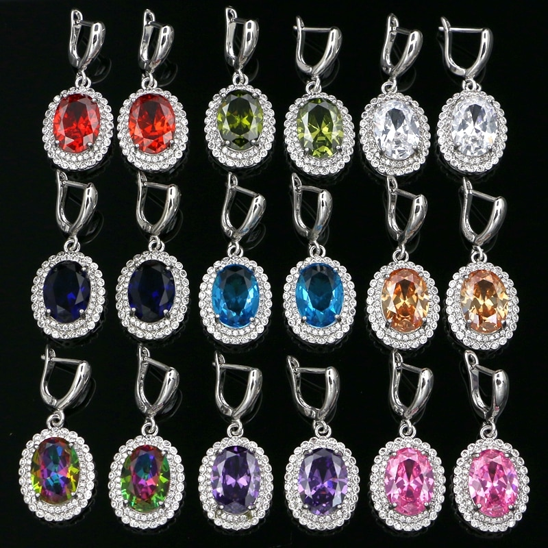Fashion Milticolor Cubic Zirconia Stone Silver 925 Earrings For Women Party Hanging Dangle Earrings Drop Earing modern Jewelry v ya 925 stertling silver agates water drop earrings natural stone dangle earrings women wedding party jewelry gift