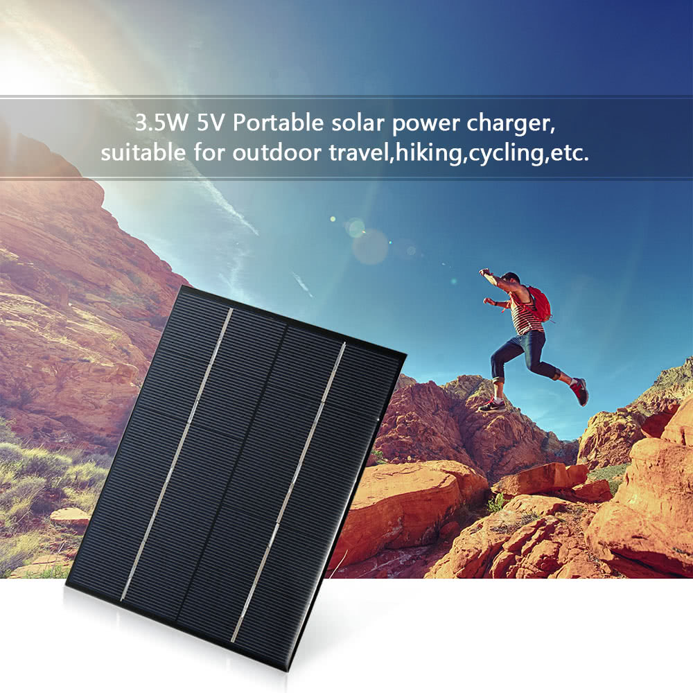 Panel Solar de silicio policristalino para cargador de energía, 3,5 W, 5V, puerto USB, carga de batería 18650
