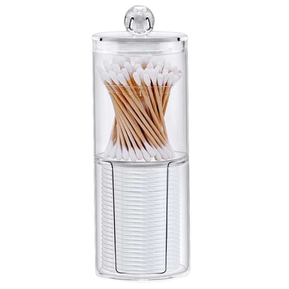 Акрилна многофункционална кръгла кутия, кутия за бижута, прозрачен контейнер за памучни тампони козметичен грим